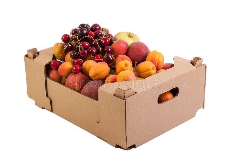 Fresh and tasty organic fruits in cardboard box, isolated on white stock photography
