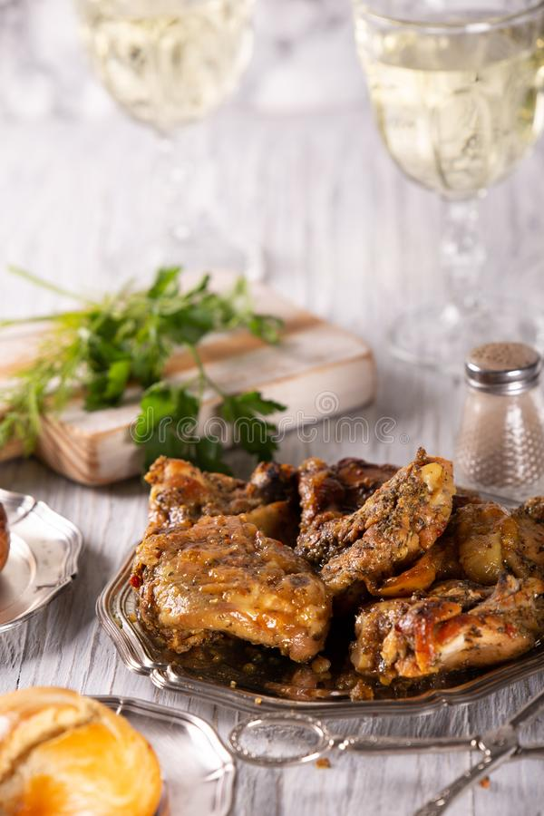 Fresh tasty part of fried chicken with spices royalty free stock photo