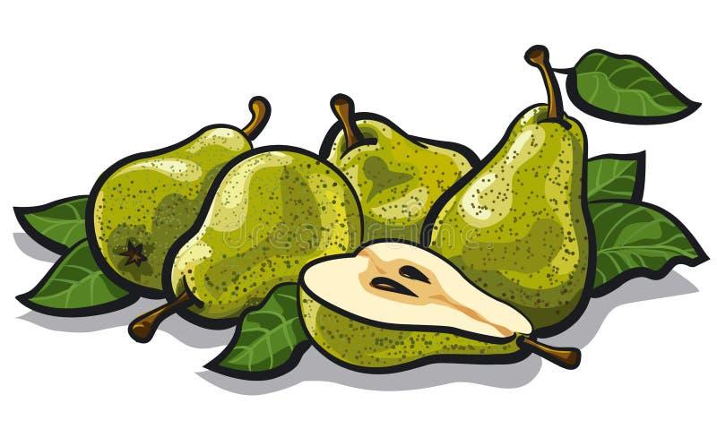 Fresh tasty pears stock illustration