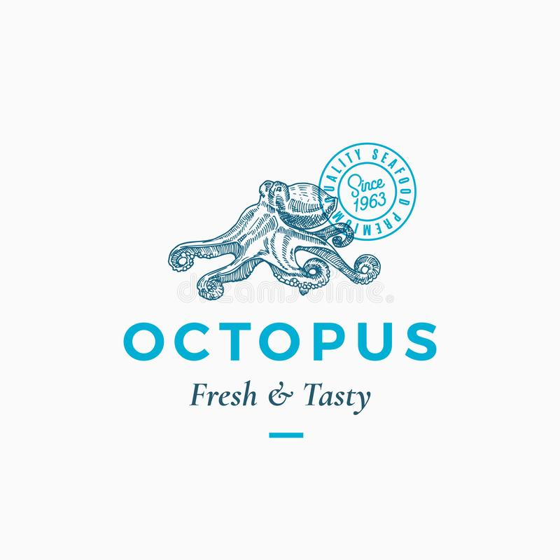 Fresh and Tasty Seafood Abstract Vector Sign, Symbol or Logo Template. Hand Drawn Octopus with Premium Classic vector illustration