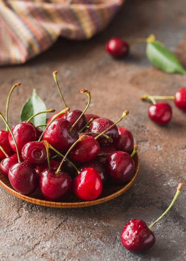 Fresh sweet cherry on dessert royalty free stock images