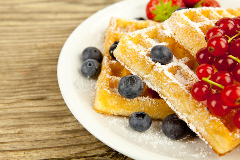 Fresh tasty waffer with powder sugar and mixed fruits royalty free stock image