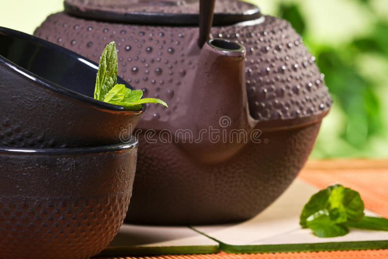 Fresh tea leaves and kettle in the garden royalty free stock images