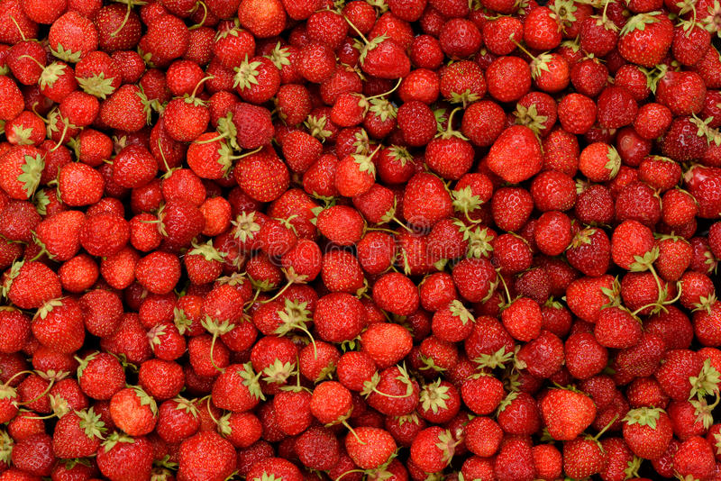 Fresh texture of strawberries background stock images