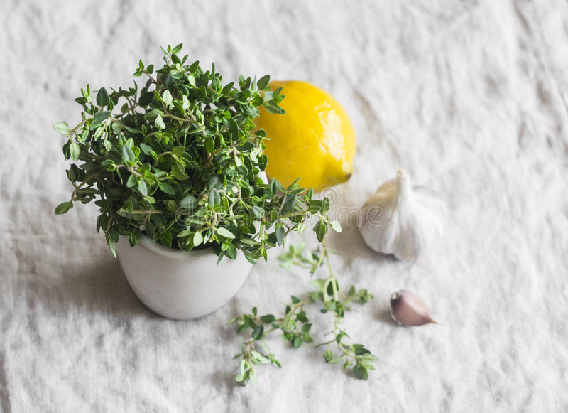 Fresh thyme, lemon, garlic on a light background. Fresh herbs and spices stock images