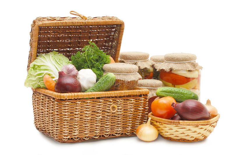 Fresh,tinned vegetables in a wattled box stock photo