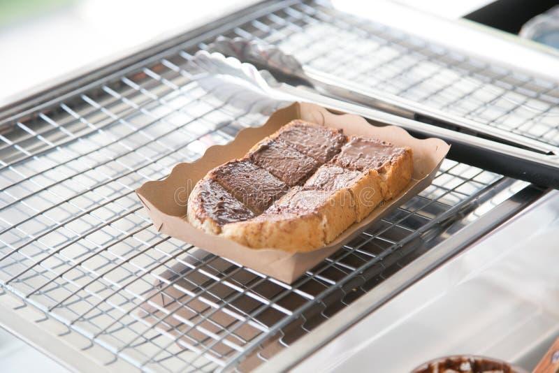 Fresh Toast with chocolate spread stock photo
