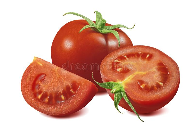 Fresh tomato group isolated on white background. Package design element with clipping path. Full depth of field stock photography