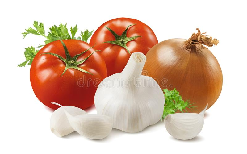 Fresh tomato, onion, garlic cloves and herbs isolated on white background stock image