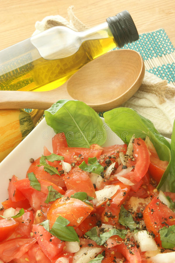 Fresh Tomato Salad With Basil And Onion Royalty Free Stock Image