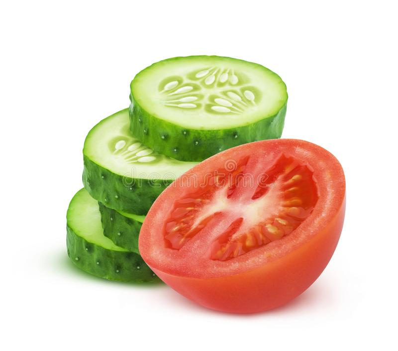 Fresh tomato and sliced cucumber isolated on white background royalty free stock photography