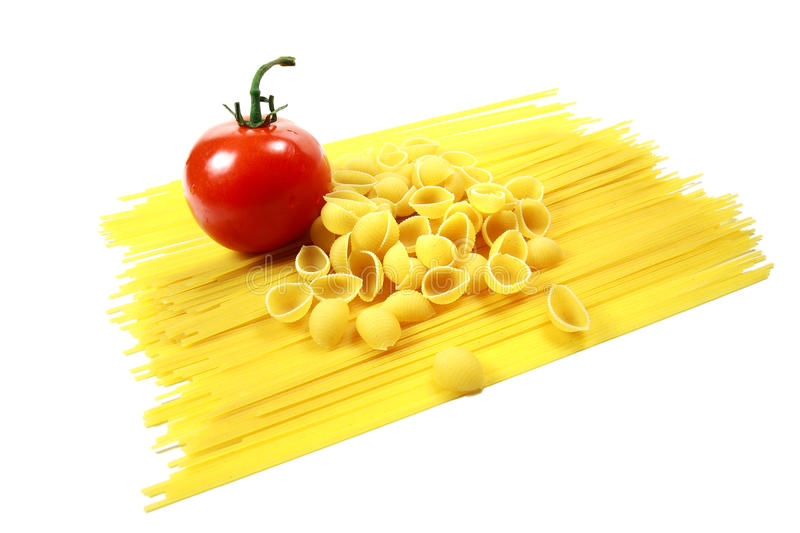 Fresh Tomato with Spaghetti Noodles and Shell Past royalty free stock image