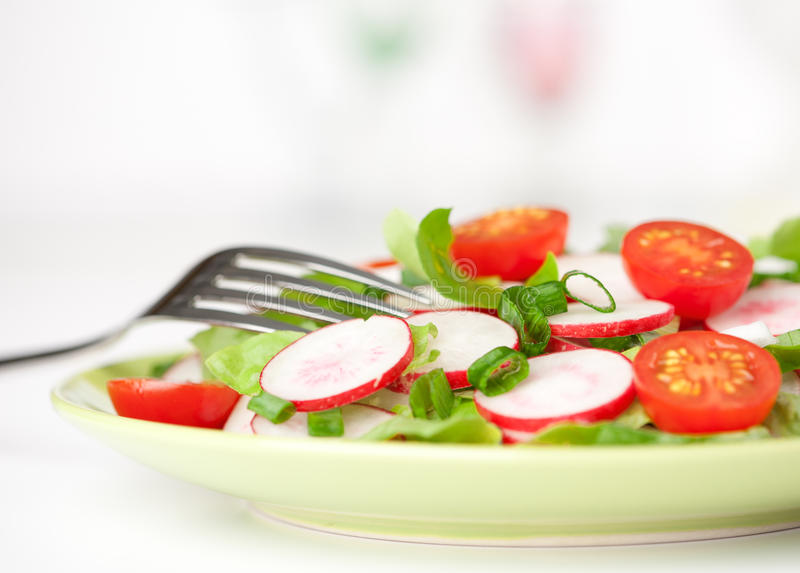 Download Fresh tomatoes and radish stock photo. Image of fork - 25671126