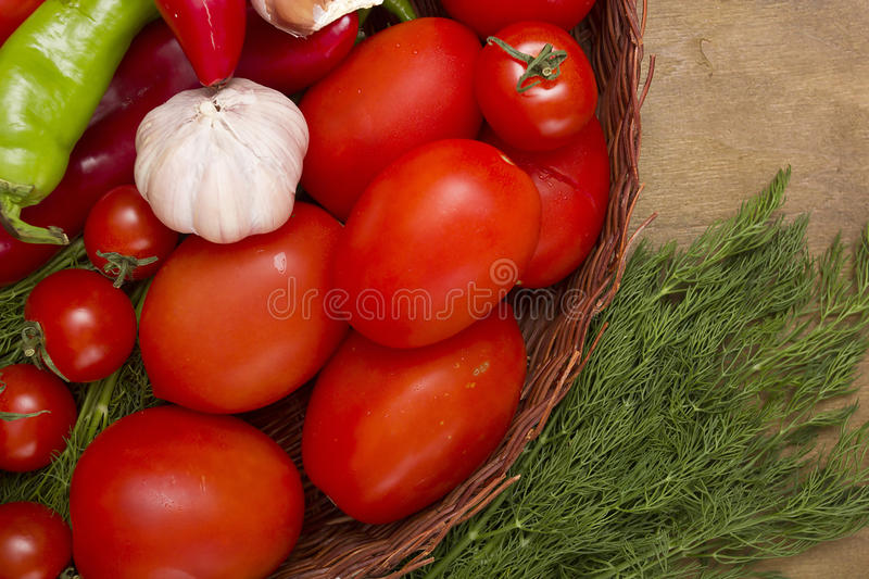 Fresh tomatoes in a wicker basket. With vegetables from the garden royalty free stock photos