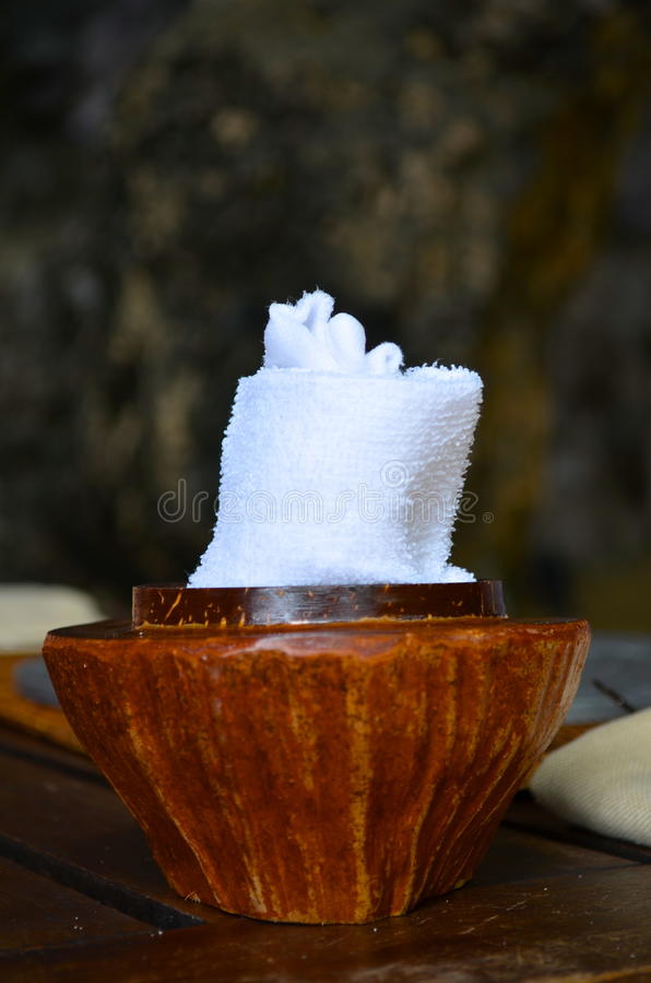 Fresh towel for your hand befor food. Refreshing towel which one can be used before food arrives royalty free stock photography