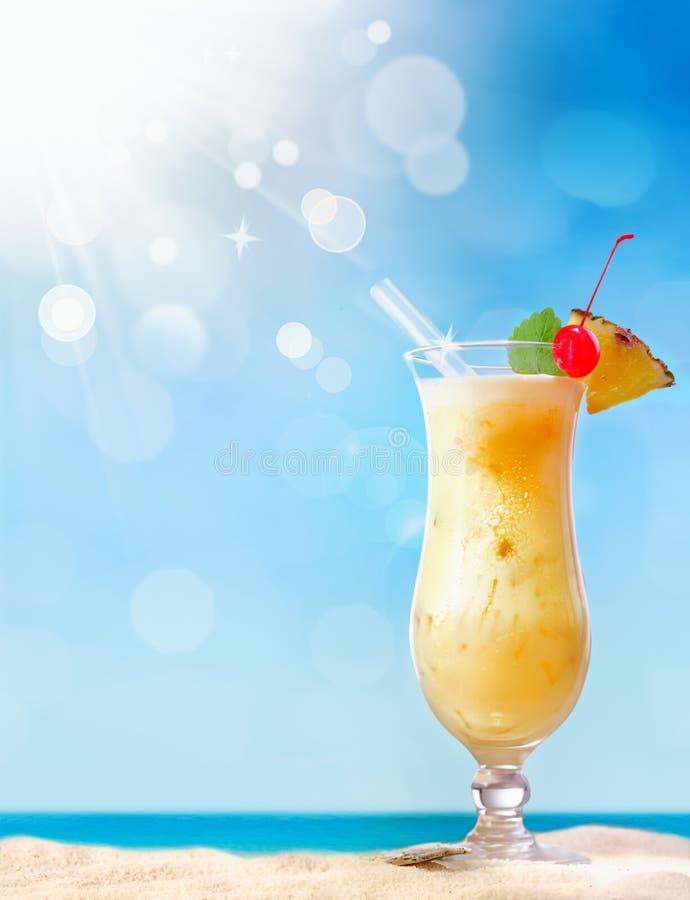 Fresh tropical coctail on sunny beach