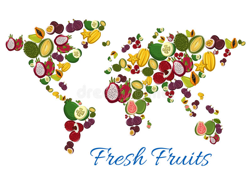 fresh tropical exotic fruits in shape of world map stock