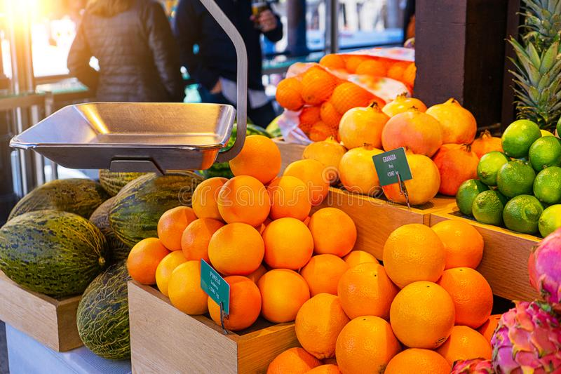 Fresh tropical fruits on the counter in the market. stock photography