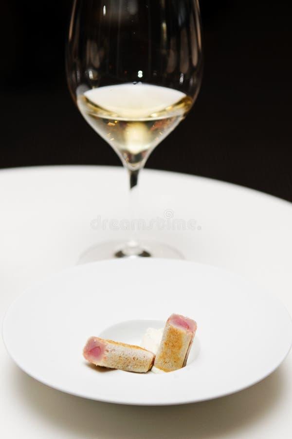 Fresh Tuna Fish In Tiny Bread Slice Stock Images