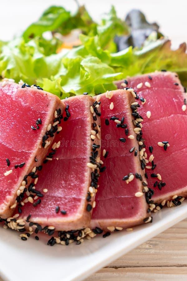 fresh tuna raw with vegetable salad royalty free stock photos