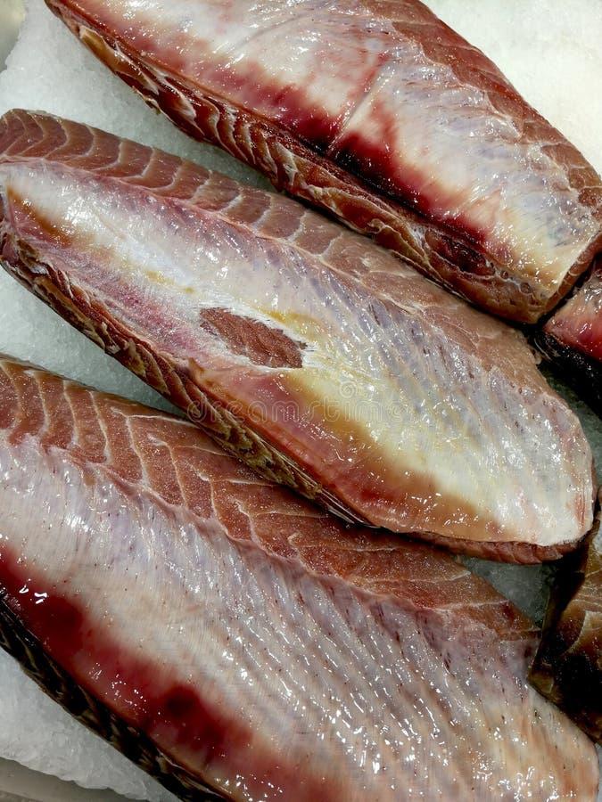 Fresh tuna steaks at the fish market royalty free stock image