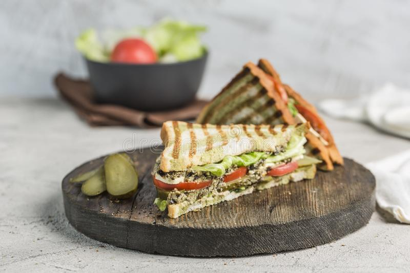 Fresh tuna, tomato, pickle and lettuce sandwich on bread toast closeup on wooden Board stock images