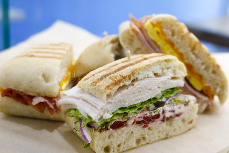 Fresh Turkey sand Panini. Closing picture in bakery store stock photo