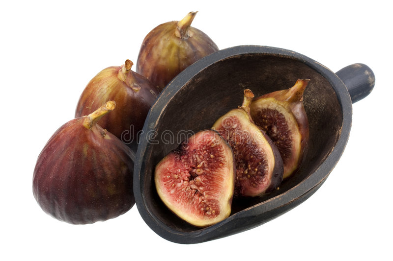 Fresh Turkish figs with a wooden scoop stock image