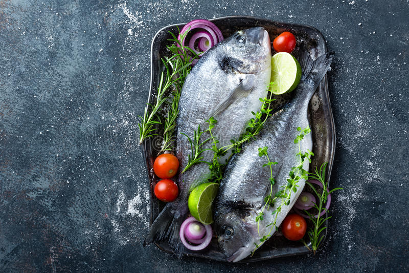 Fresh uncooked Dorado fish or sea bream with ingredients for cooking on dark background royalty free stock photography