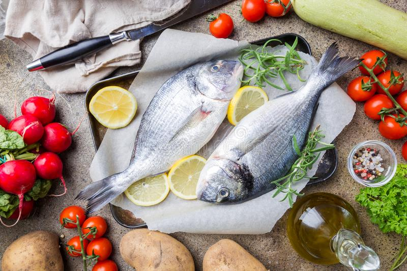 Fresh uncooked dorado. Or sea bream fish with ingredients, lemon and rosemary on paper over background, top view royalty free stock images