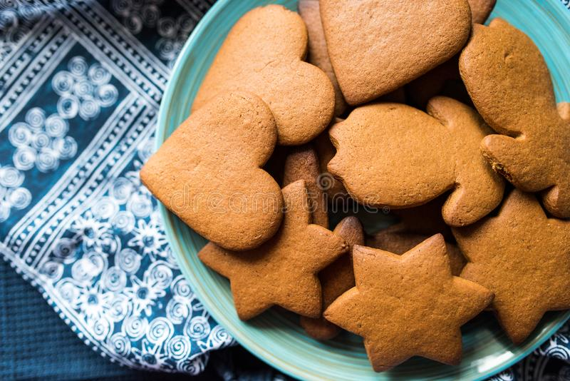 Fresh, undecorated gingerbread cookies stock photo