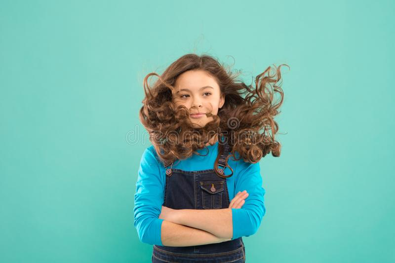 Fresh it up. Nice and tidy hairstyle. Small child long hair. Girl active kid with long gorgeous hair. Extra fresh dry. Shampoo. Easy tips making hairstyle for stock photography