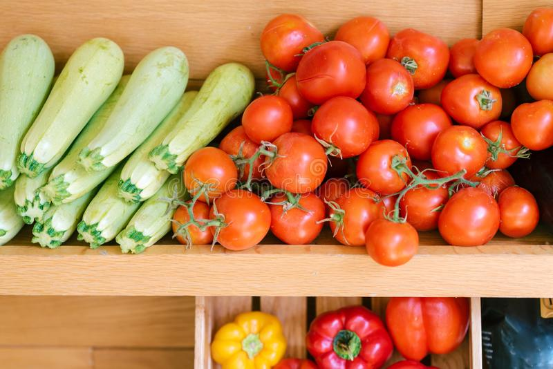 Fresh healthy bio vegetables on farmer agricultural market. stock photo