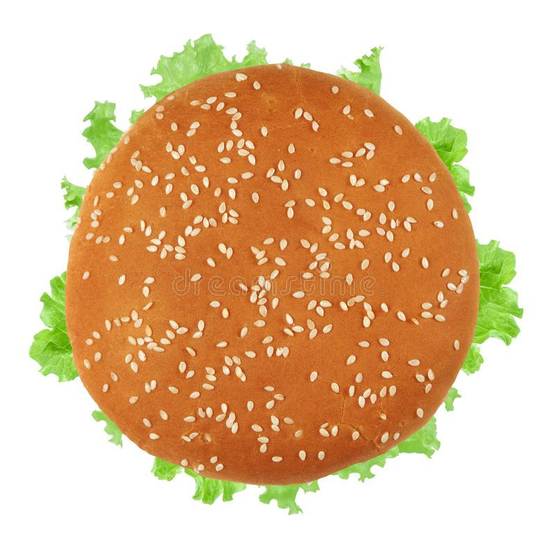 Fresh vegan burger top view. Isolated. On white background stock photo
