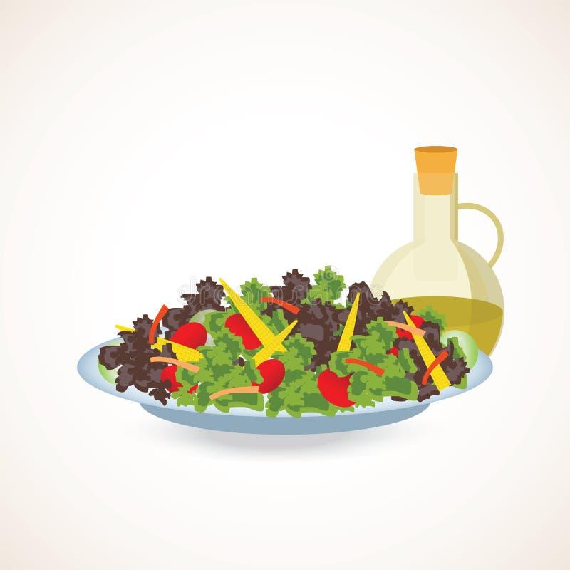 Fresh vegetable and green leaf salad dish. royalty free illustration