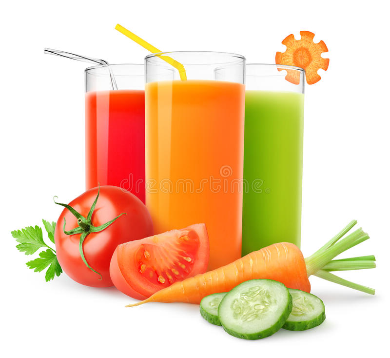 Fresh vegetable juices royalty free stock photos