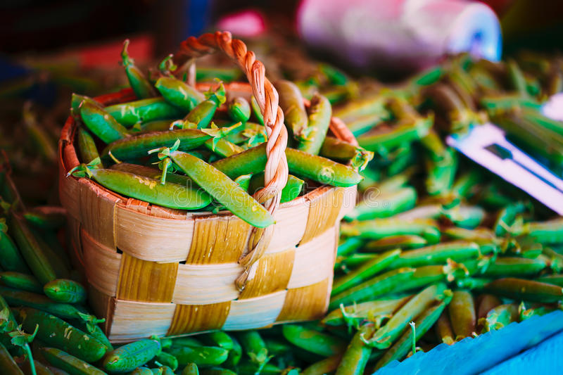 Fresh Vegetable Organic Green Beans In Wicker Basket. royalty free stock images