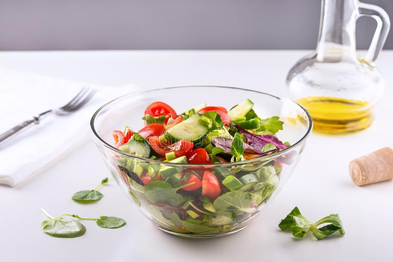 Fresh vegetable salad in a bowl royalty free stock photography