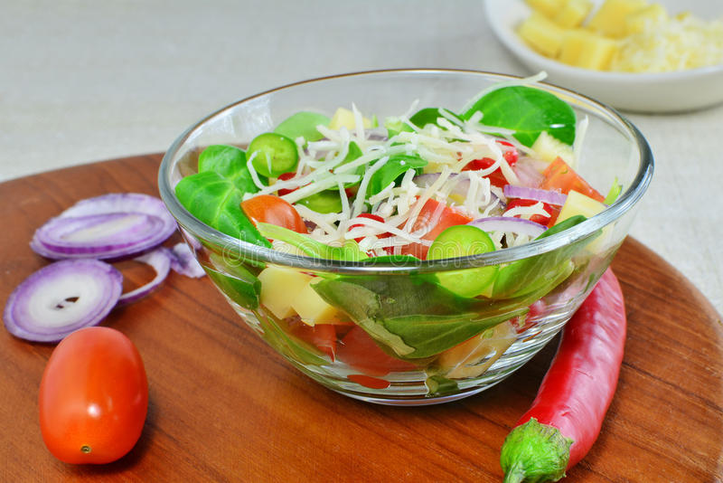Fresh vegetable salad with cheese and ingredients stock photo