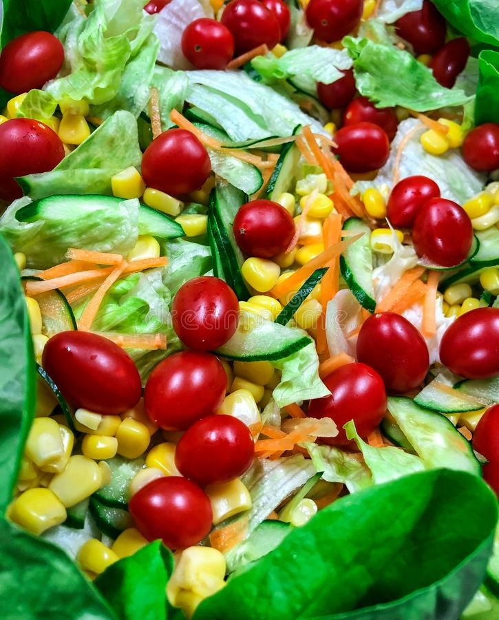 Fresh vegetable salad. Picture of healthy food, fresh vegetable salad contain cherry tomato, corn, carrot, lettuce, and other fresh ingredients royalty free stock photography