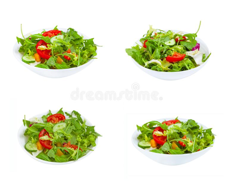 Fresh vegetable salad  in plate stock images