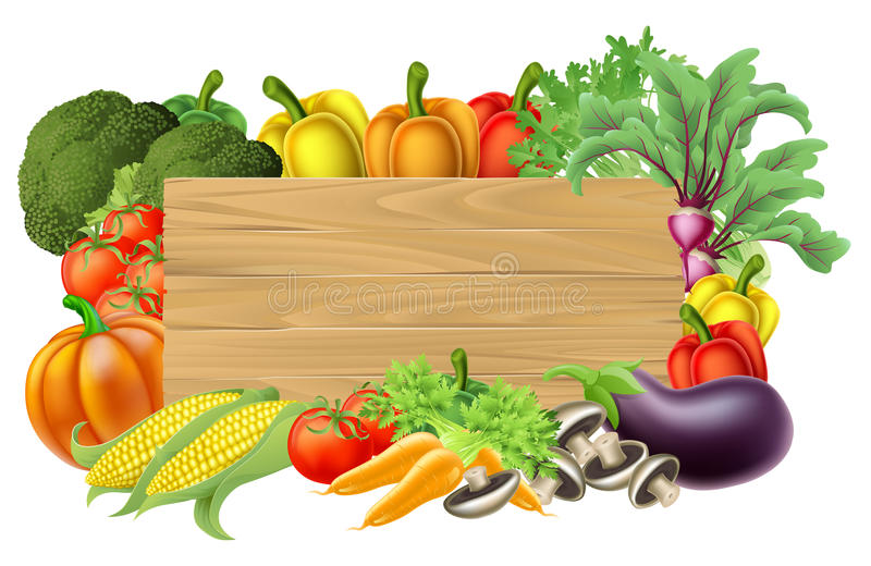 Fresh Vegetable Sign. A wooden vegetables sign background surrounded by a border of fresh fruit and vegetables food produce vector illustration