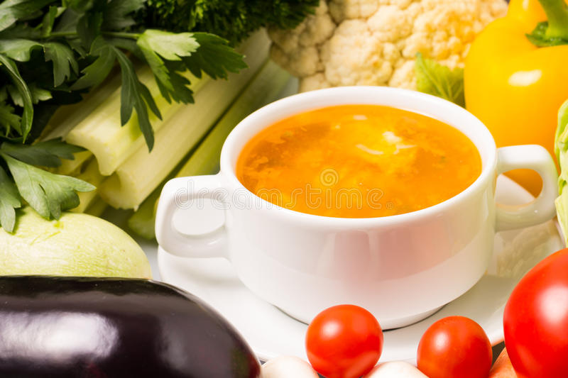 Fresh Vegetable Soup with Vegetables stock image