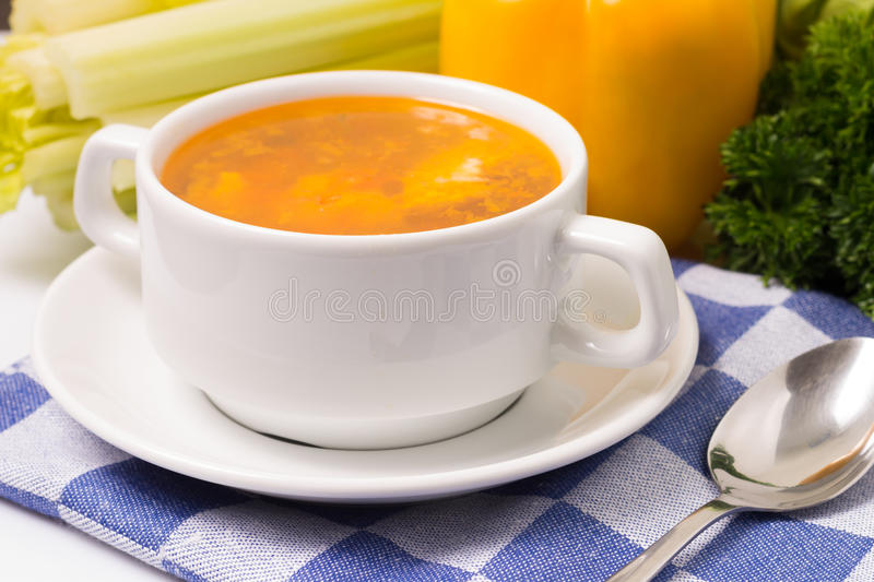 Fresh Vegetable Soup with Vegetables stock photos