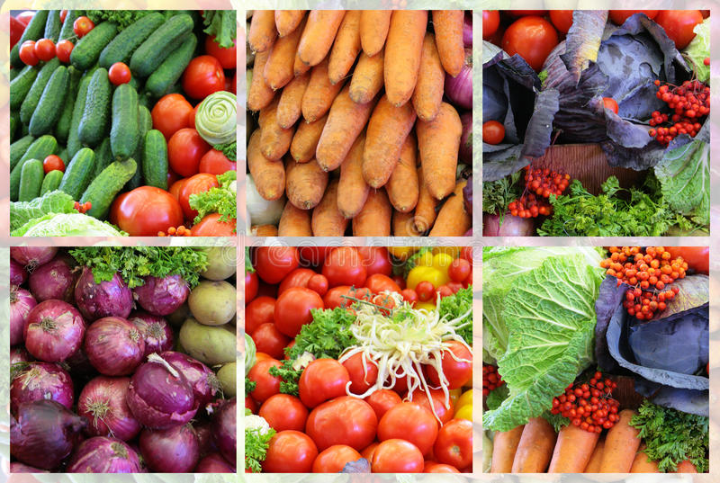 Fresh vegetable variety collage stock image