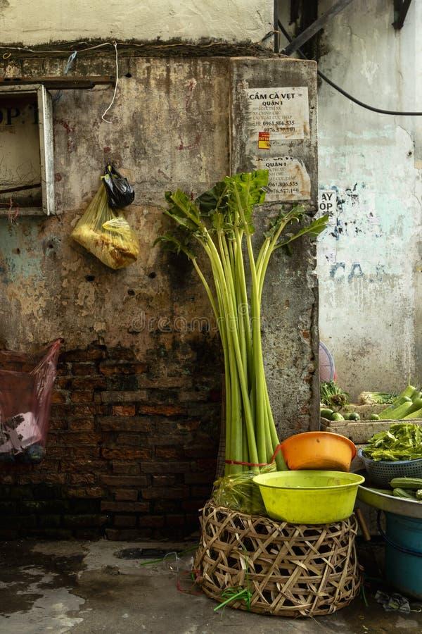 Fresh vegetable vendor on street in Ho Chi Minh City stock photos