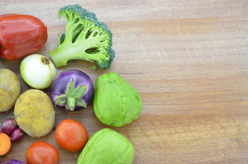 Fresh vegetable on wooden table royalty free stock images