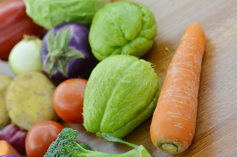 Fresh vegetable on wooden table royalty free stock photos