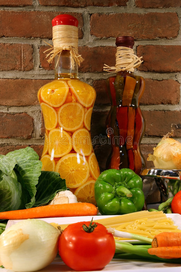 Fresh vegetables. On a countertop in the kitchen stock photography
