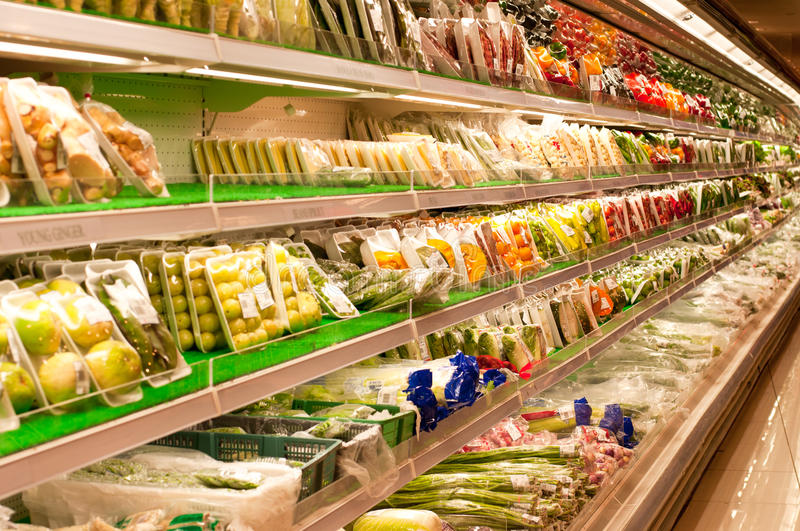Fresh Vegetables. Neatly packaged and display in a cold fridge